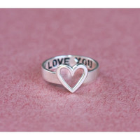 Heart Symbol Silver Name Ring Band - Infinity Ring - Promise Ring - Hand Stamped Ring - Gift Idea