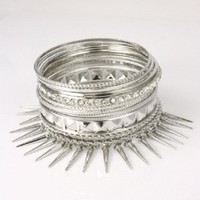 10 piece silver spike crystal arm candy stack bracelet bangle cuff