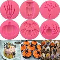 Halloween Molds Fondant Cream Chocolate Silicone Molds Hand Skeleton Spider Bats Pumpkin Owls Clay For Kitchen Baking