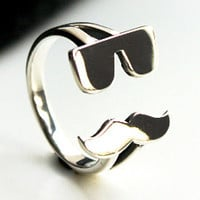 Sunglasses&Mustache Silver Ring Sterling Ring .925 Silver Ring Personalized Ring