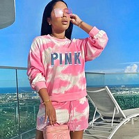 Victoria's Secret Pink Newest Fashion Women Casual Print Tie-Dye Long Sleeve Top Shorts Set Two Piece Sportswear