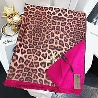 Louis Vuitton LV Autumn And Winter New Fashion Embroidery Letter Leopard Tassel Scarf Women