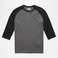 Under Armour Tech 3/4 Mens Baseball Tee Charcoal  In Sizes