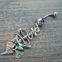 anchor and shells belly ring abalone seashells purple blue in beach boho gypsy hippie belly dancer  beach hipster and fantasy style