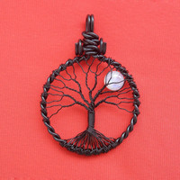 GOTH RAINBOW MOONSTONE Tree of Life Pendant Full Moon Lunar Jewelry Black Cooper Wire Jewelry Reclaimed Recycled