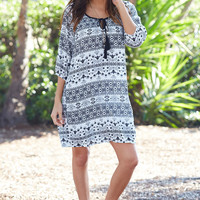 White Black Tribal Ikat Print Tie Front Dress