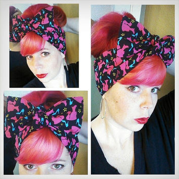 Barbie Headwrap Bandana Hair Big Bow Tie 1940s 1950s Vintage Style