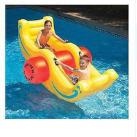 Swimming Pool Inflatable Sea-Saw Rocker See-Saw Float Lounge Yellow Durable