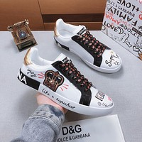 Dolce& Gabbana D&G Women Men Fashion White Casual Sports Shoes