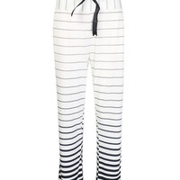 White Faded Striped Drawstring Waist Pants