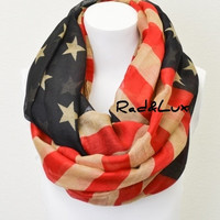 Vintage Feel American Flag Inspired Infinity Scarf Bohemian Style Red White and Blue Patriotic Independence Day Ready to Ship