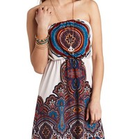 MEDALLION PRINT BLOUSED STRAPLESS DRESS
