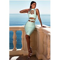 Silana Mint Cut Out Bandage Dress ( 3 colors available) BQH2101