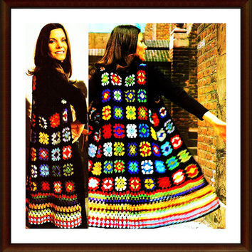 CROCHET PATTERN Long Waistcoat in Granny Squares tunic jacket Instant Download PDF patchwork sweater jacket crochet sweater patterns vtg