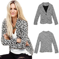 White Leopard Pattern Notched Collar Double Pocket Coat