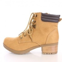 Blond Lace Up Ankle Booties Faux Suede