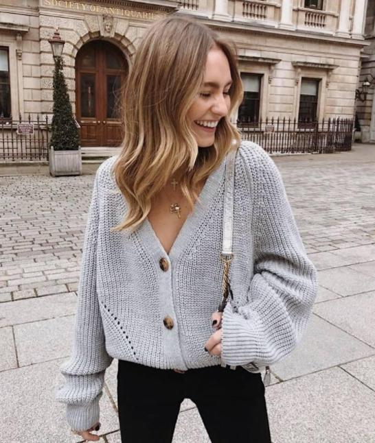 Image of Explosive casual solid color button sweater cardigan sweater coat