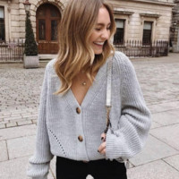 Explosive casual solid color button sweater cardigan sweater coat