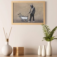 """Banksy Boy Walking Painted Dog Wall Art Poster Print - Quote """"Choose Your Weapon"""" Paper Printing Room Decor - Graffiti Printable Painting"""