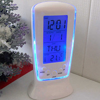 New arrival  LED Digital Alarm Clock with Blue Backlight Electronic Calendar Thermometer Gift