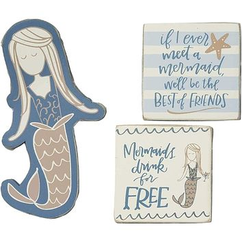 Mermaids Drink For Free Set of 3 Magnets in Gift Packaging