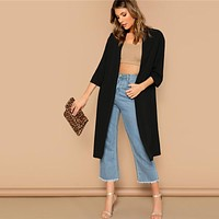 Black Open Front Split Back Plain Solid Longline Kimono Cardigan Women Three Quarter Length Sleeve Kimono Tops