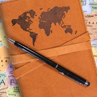 World Map Leather Journal