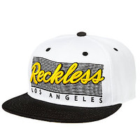 The Vintage Reckless Snapback Hat in White and Black