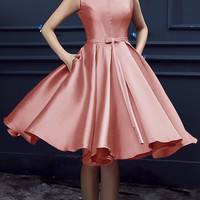 Peach Pink Bowknot Waist Lacing Back Midi Sleeveless Prom Dress