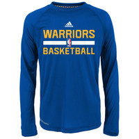 Youth Golden State Warriors adidas Blue Practice ClimaLITE Long Sleeve T-Shirt