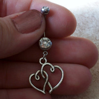 Belly Ring Two Hearts Friendship Body Jewelry Body Jewelry 14ga