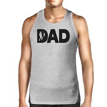 Dad Fish Mens Grey Tank Top Birthday Gift For Dad Who Loves Fishing