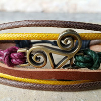 FREE SHIPPING-Men, Woman Bracelet, Bronze Sign, Multi Color and Strands. Handmade, Style Country Jewelry, Unisex. 058