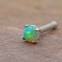 Green Fire Opal Nose Ring Nose Stud
