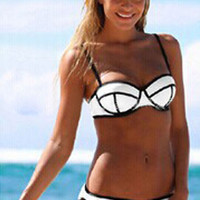 White Push Up Bikini with Black Trim Accent