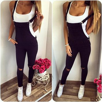 Fashion All-match Strap Denim Strap Ripped Hollow Overalls Jumpsuit