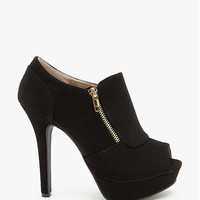 Gaze 311 Gold Zipper Trim Peep Toe Bootie