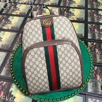 Gucci Women Men Fashion Leather Travel backpack leisure bag