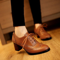 New Retro England Style Pointy Toe Thick Low-heeled Lace Oxfords Heels Carved Leather Shoes Brogue T_WSF009 [7687749958]