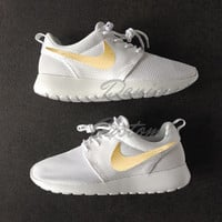 Nike Roshe Run One White with Custom Gold Swoosh Paint