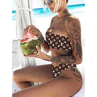 New Fashion Summer Monogram Personality Strapless Two Piece Bikini Swimsuit