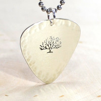 Sterling Silver Artistic Guitar Pick Necklace with a Big Tree and Hammered Borders