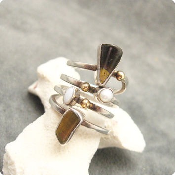 Long Sterling 14K Gold Ring Lilly Barrack Abstract Gemstone Jewelry