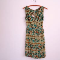 floral cocktail dress - 50s vintage green copper rhinestone party dress - sleeveless - floral print - small medium