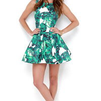 Leaf it to Chance Green Print Dress