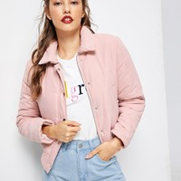 Pink Solid Puffer Jacket