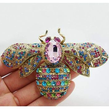 "2.36"" Fashion Style Multi-color Bee Insectl Brooch Pin  Rhinestone Crystal"