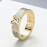 LV Louis Vuitton new personality beveled lettering fashion couple men and women ring White
