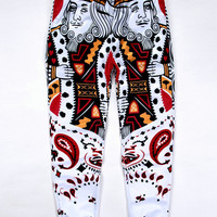 Black Emoji Poker Cashew Print Sweatpants