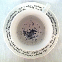 """Harry Potter Grim Teacup """"You need your Inner Eye tested"""" - Hand Painted Literary Quote Teacup and Saucer - Tea leaves and spells"""